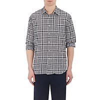 Barneys New York Men's Seersucker Gauze Shirt Black Blue Black Blue