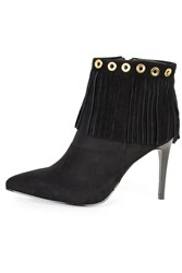 Alice And You Heeled Fringe Ankle Boot Black