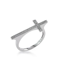 Effy Pave Classica 14Kt White Gold And Diamond Cross Ring Silver