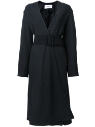 Christophe Lemaire Belted Single Breasted Coat Grey