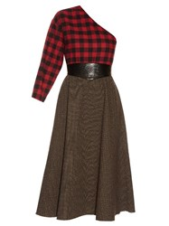 A.W.A.K.E. Grandpa's Asymmetric Plaid Midi Dress Red Multi