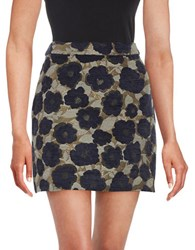 Sam Edelman Metallic Floral Mini Skirt Black Multi