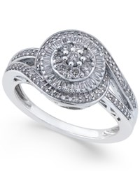 Macy's Diamond Cluster Circle Ring 1 2 Ct. T.W. In Sterling Silver