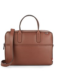 Ben Minkoff Fulton Leather Briefcase Cognac