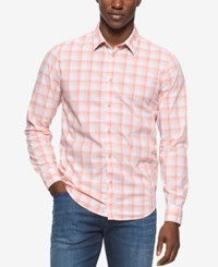 Calvin Klein Jeans Men's Spring Check Long Sleeve Shirt Charged Coral
