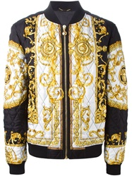 Versace Baroque Print Quilted Bomber Jacket Black