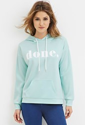 Forever 21 Scuba Knit Done Graphic Hoodie Mint White