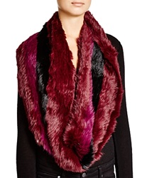 Jocelyn Striped Rabbit Fur Infinity Scarf Berry
