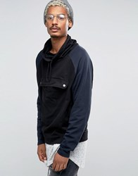 Asos Oversized Funnel Neck Sweatshirt With Contrast Sleeves And Pocket Black