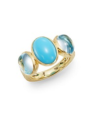 Jude Frances Classic Turquoise Sky Blue Topaz And 18K Yellow Gold Ring Gold Blue