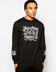 Crooks And Castles With Us Or Against Us Long Sleeve T Shirt Black