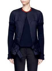 Victoria Beckham Ribbed Raglan Sleeve Wool Twill Jacket Blue