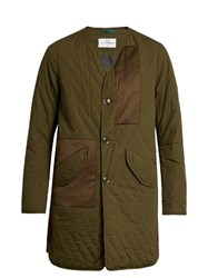 Oamc Lightly Padded Quilted Cotton Coat Green Multi