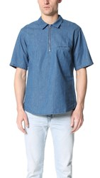 Shades Of Grey Short Sleeve Zip Front Shirt Washed Blue Denim