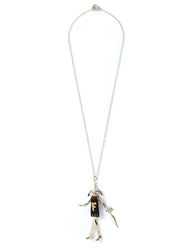Servane Gaxotte Rabbit Doll Pendant Necklace Metallic