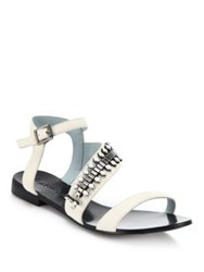Dannijo Riles Crystal Trimmed Leather Sandals White