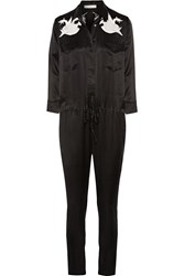 Iro Odiane Two Tone Lace Trimmed Silk Jumpsuit Black