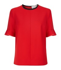 Victoria Beckham Flounce Sleeve Top Female Red