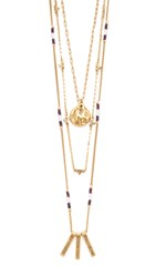 Madewell Layered Triangle And Bead Necklace Set Light Gold Ox