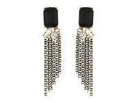 Guess Rectangular Stone Top With Stone And Chain Drop Earrings Jet Gold Crystal Earring Multi
