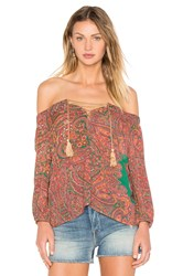 Line And Dot Monaco Peasant Top Red