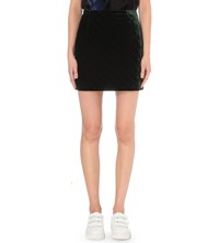 Sandro Quilted Velvet Mini Skirt Bottle Green