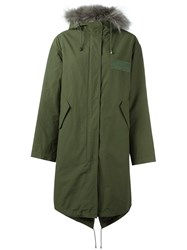 Yves Salomon Fur Trimmed Parka Coat Green