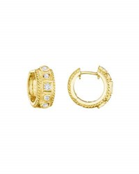 Penny Preville 18K Gold Round And Square Diamond Huggie Earrings
