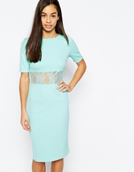 Daisy Street Scuba Dress With Lace Insert Mint