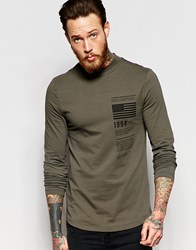 Asos Muscle Long Sleeve T Shirt With Flag Print And Turtleneck Green