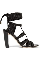 Jimmy Choo Woven Suede And Leather Sandals Black