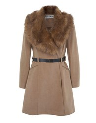 Miss Selfridge Belted Faux Fur Collared Peacoat