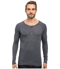 Boss Orange Tambow Melange Rib Henley Blue Men's Clothing