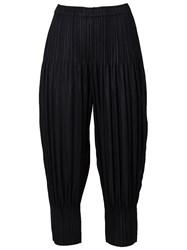 Issey Miyake Cuff Detail Pleated Wide Tapered Trousers Black