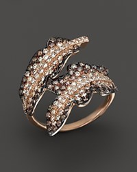 Bloomingdale's Brown And White Diamond Leaf Statement Ring In 14K Rose Gold