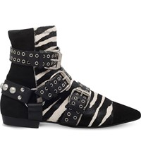 Isabel Marant Rolling Zebra Print Leather Ankle Boots Blk White