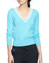 Lauren Ralph Lauren V Neck Cricket Sweater Blue