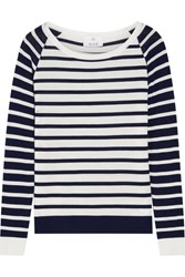 Allude Striped Wool Sweater Midnight Blue