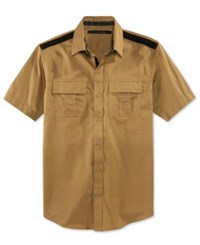 Sean John Men's Solid Twill Short Sleeve Shirt