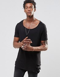 Asos T Shirt With Slashed Hem And Neck In Linen Look Black