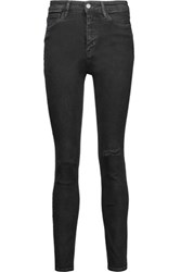 Mih Jeans M.I.H Bridge Mid Rise Distressed Slim Leg Black
