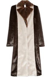 Edun Color Block Faux Fur Coat