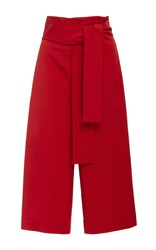 Tibi Tie Waist Shorts Red