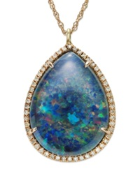 Macy's 14K Rose Gold Necklace Opal Triplet And Diamond 1 4 Ct. T.W. Pendant Blue