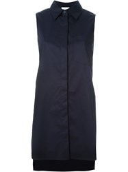 Dkny Cross Back Sleeveless Shirt Blue