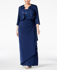 Alex Evenings Plus Size Metallic Empire Gown And Jacket Blue Jay