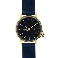 Miansai M12 Gold And Navy Leather Watch Blue
