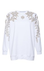 Francesco Scognamiglio Jeweled Long Sleeve Top White