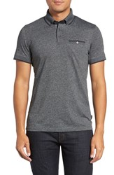 Ted Baker Men's London 'Sabino' Modern Trim Fit Polo Charcoal