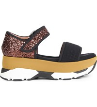 Marni Velcro Fastened Glitter And Mesh Paltform Sandals Carbone Coffee